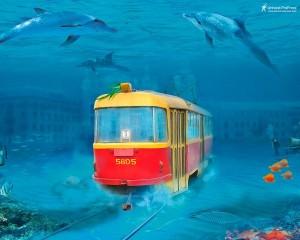 фотошоп киевский трамвай под водой